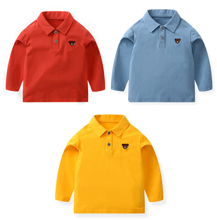 High quality boys shirt cotton long sleeve kids polo shirt