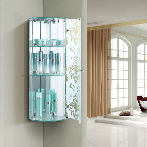 2015 wholesale cheap triangle bathroom mirrored corner cabinet
