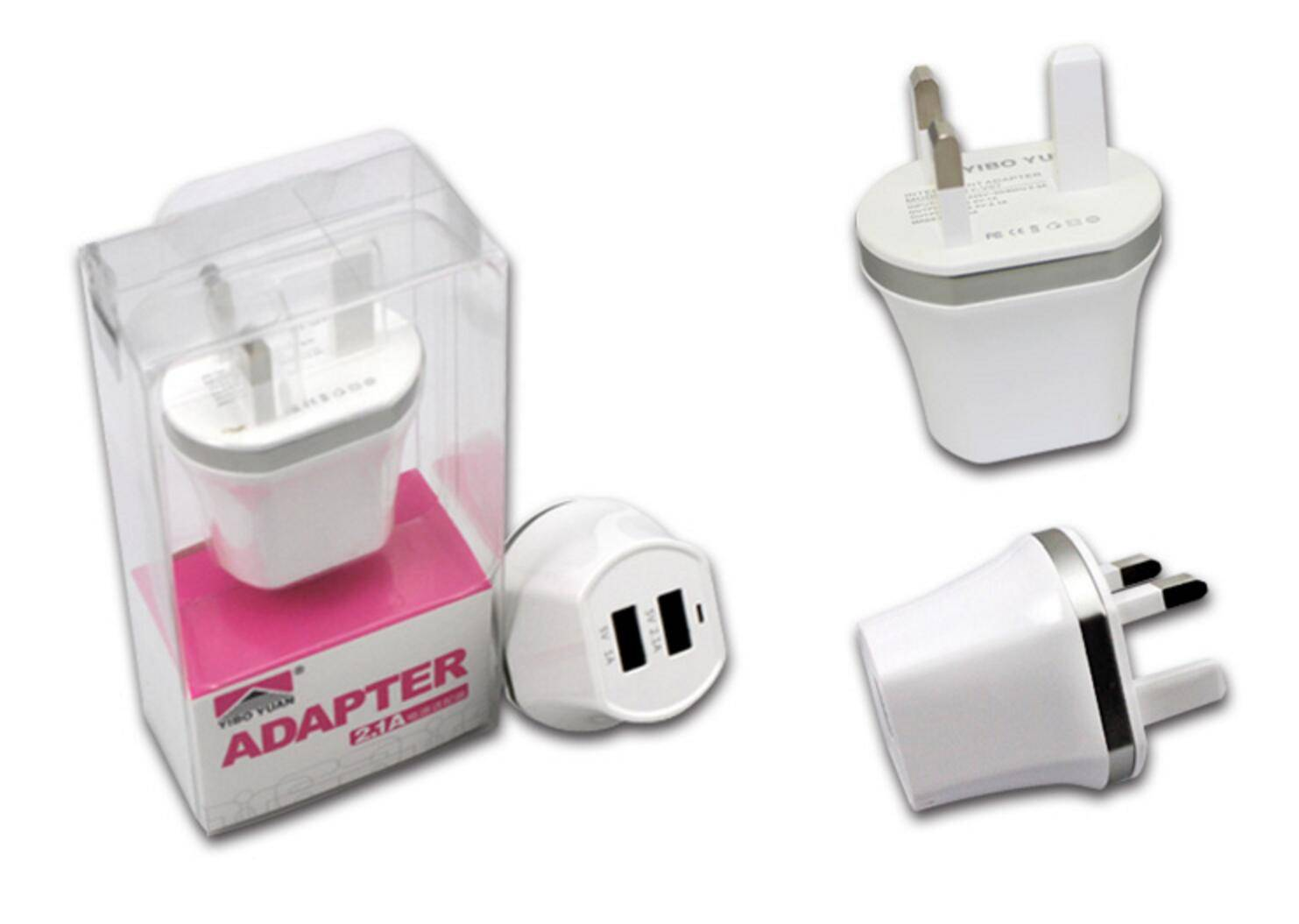 high quality new fashion Dual USB Port EU/UK/UL Mobile Travel Charger for iPhone