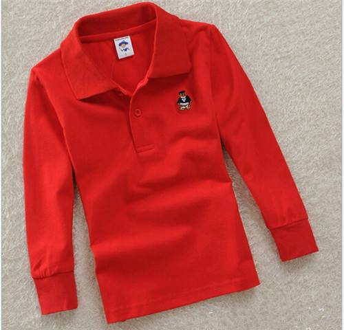 Children more classic long-sleeved cotton long sleeve polo-shirt