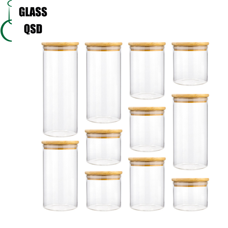 Cylinder Sealed Air Tight Glass Pickle Jar With Bamboo Lid For Storage