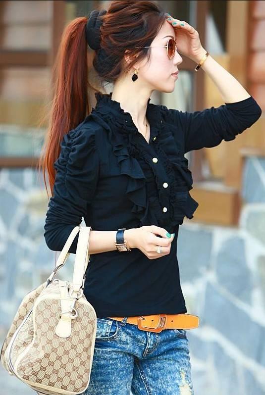 Wholesale Korean Style Beauty Design Flounce Cotton Tops,Cheap Clothes,Long Sleeved  Tee