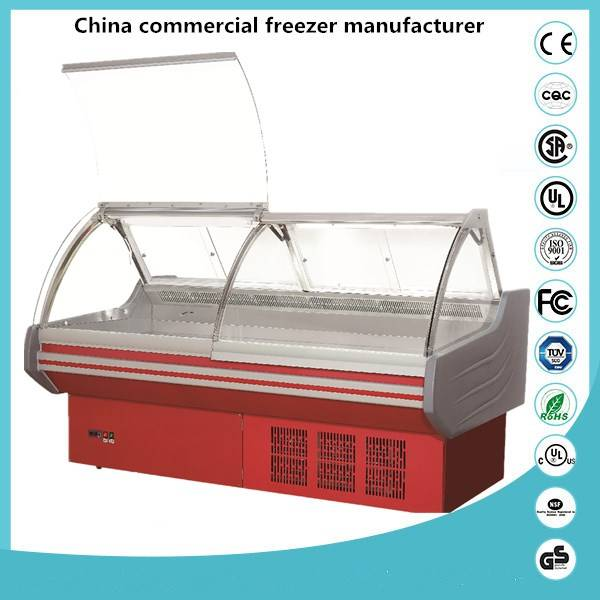 Blue ocean air cool chiller / supermarket freezer/supermarket refrigeration Deli showcase cooler