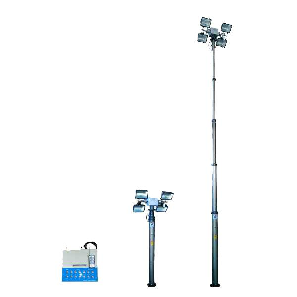 6m fire-fighting pneumatic telescopic mast with 4x1000W halogen Lamps