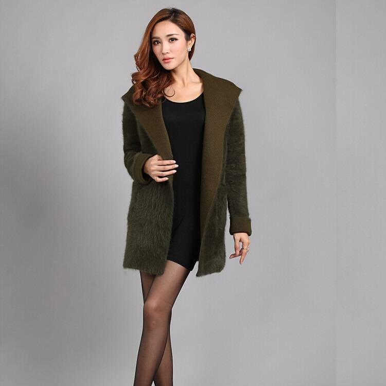 High Quality two pockets Ladies Fashion Women 100% Mink Cashmere cardigan sweater coat