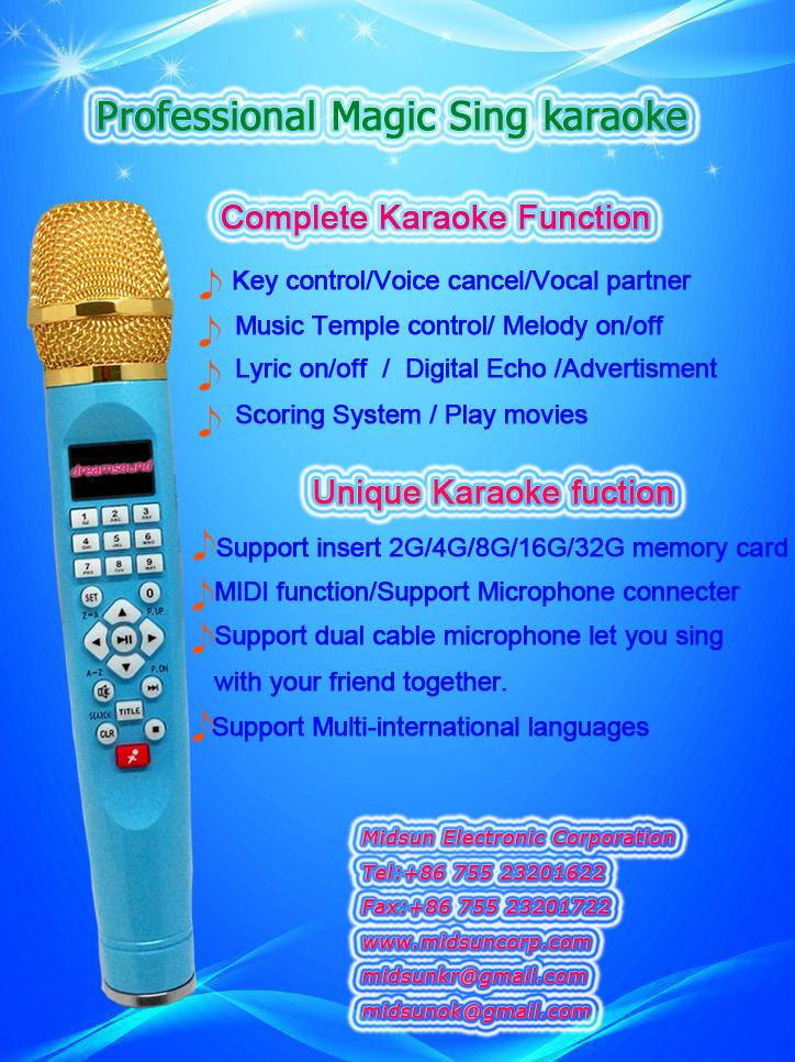 Mini karaoke player can connect extra wire MIC