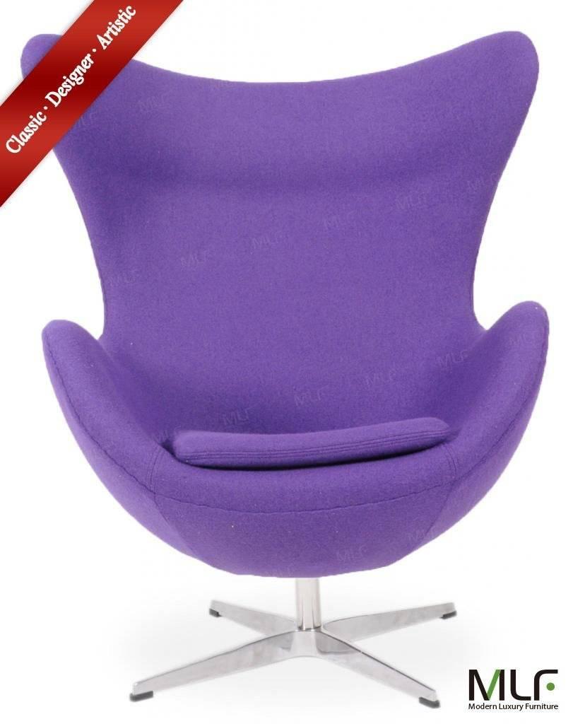 Modern Living Room Swivel Wool Fabric Egg Chair Pony Skin Egg Chair Genuine Leather Fiberglass Arne