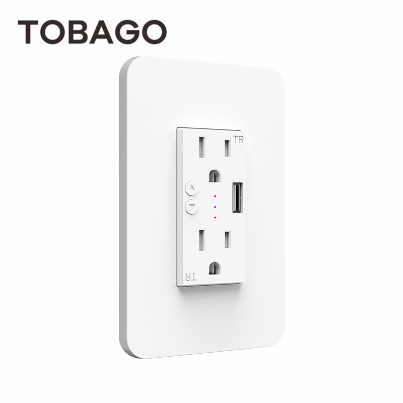KS-604S TOBAGO US Smart in-Wall Outlet Switch Timer Power Wifi Socket with Duplex Independent AC TR