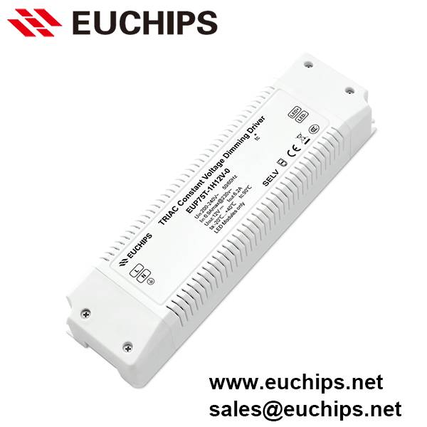 200-240VAC 75W 1 channel triac constant voltage led dimmable driver EUP75T-1H12V-0