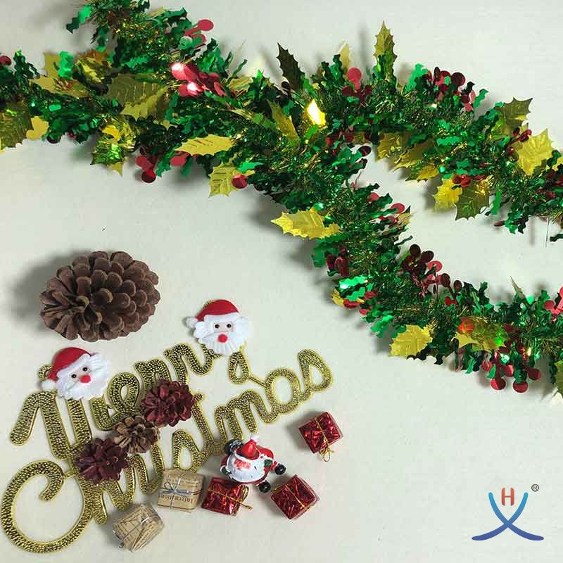 Hexing Hot and New Christmas Berry and Leaf Tinsel Foil Garland Special Gift Party with Wavy strands