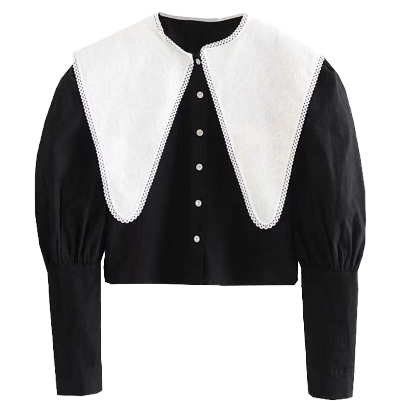 2021ss French Dolly-Neck Single-Breasted Shirt with Large Collar and Tight Waist