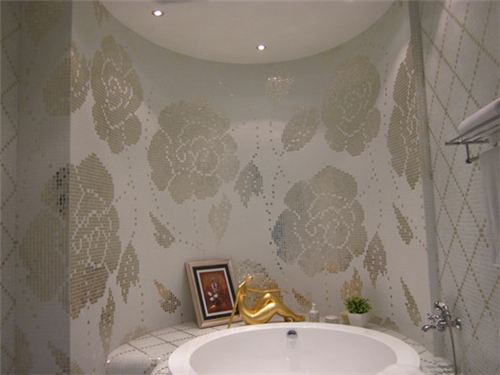 ZF-P13 silver rose patterns glass mosaic wall tiles