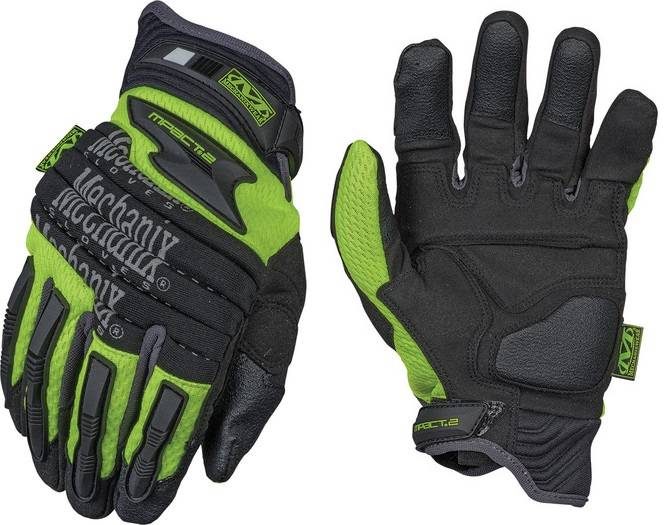 Mechanix Wear Gloves The Safety M-Pact 2 Gloves Heavy Duty Protection Hi-Vizibility / Reflective Glo