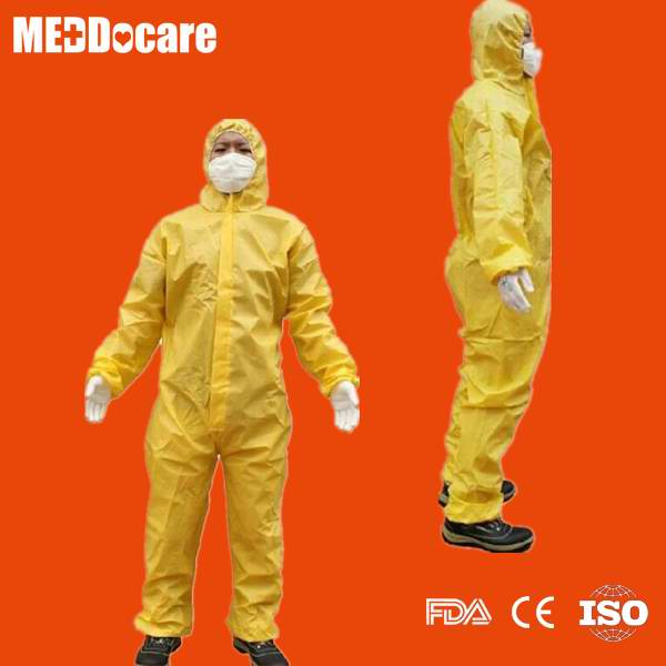 Disposable non woven covered with plastic pe yellow coverall