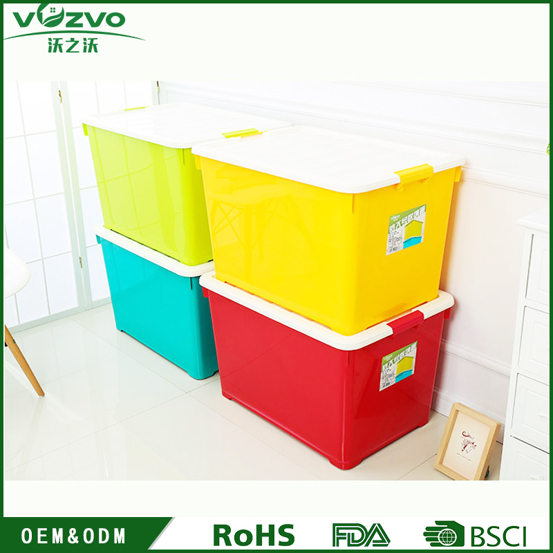 Wholesale 66L PP Plastic storage boxes household storage bin for home organization