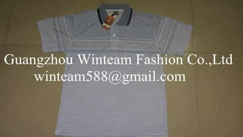 2014Wholesale latest polo shirt designs for men with vertical striped print