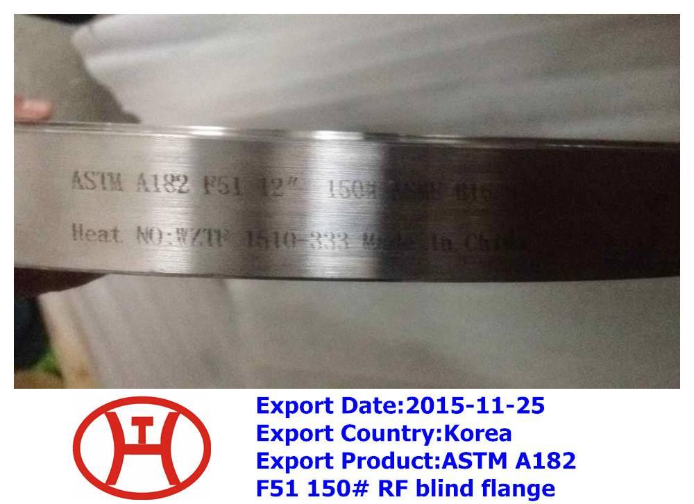 ASTM A182 F51 RF blind flange ASME B16.5