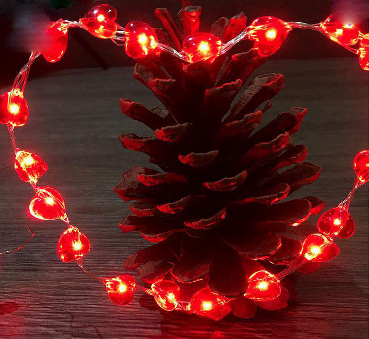 RED heart copper string lights