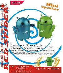 Portable mini speaker with FM and android robot style