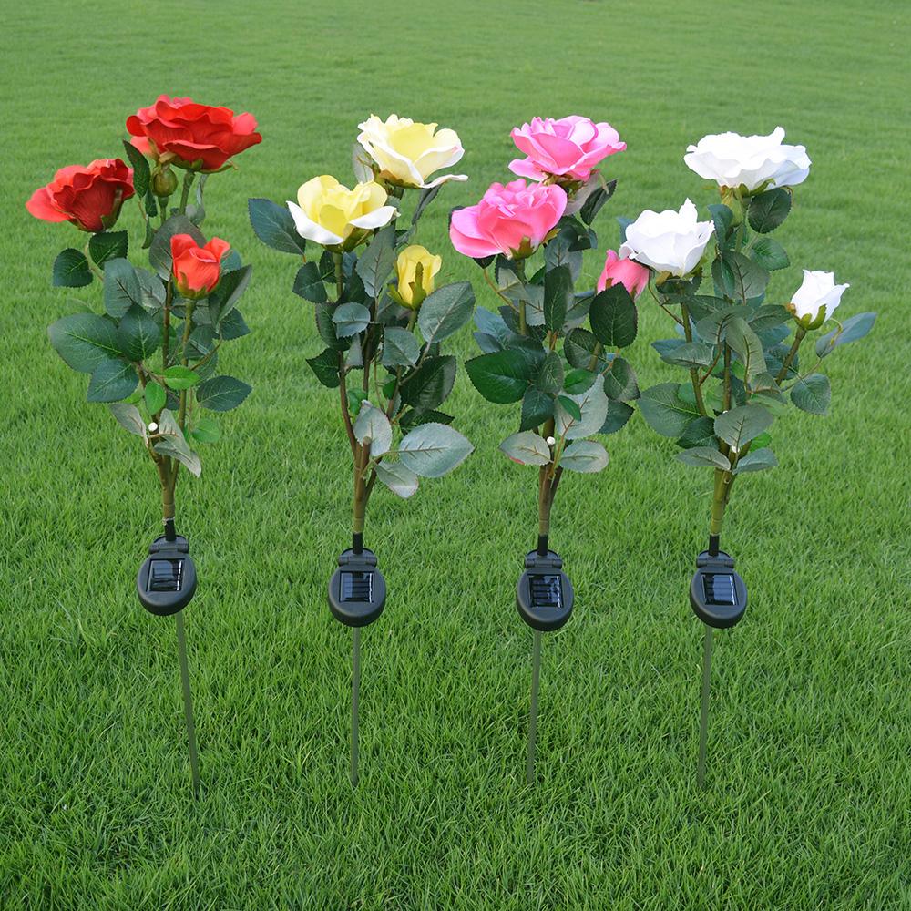 3 Branch Solar Rose Light LED solar flower light