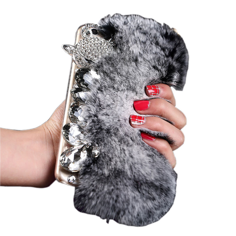 Hot Sale Diamond Rex Rabbit Fur Mobile Phone Case for iPhone X/8/7/6splus Samsung S6/S7/S8+
