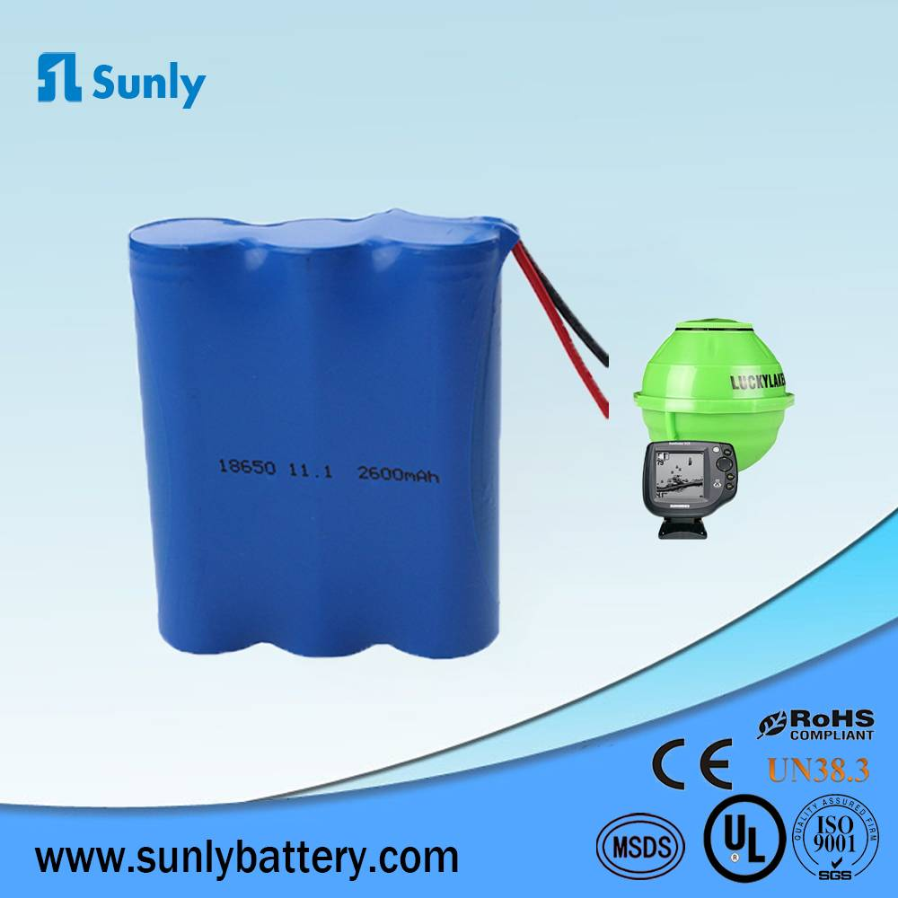 11.1V li-ion battery 18650 battery cell packing 2600mah for Solar lights