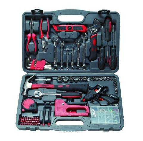 90PC Tool Kit, Hand Tool Set with Universal Wrench Socket Set