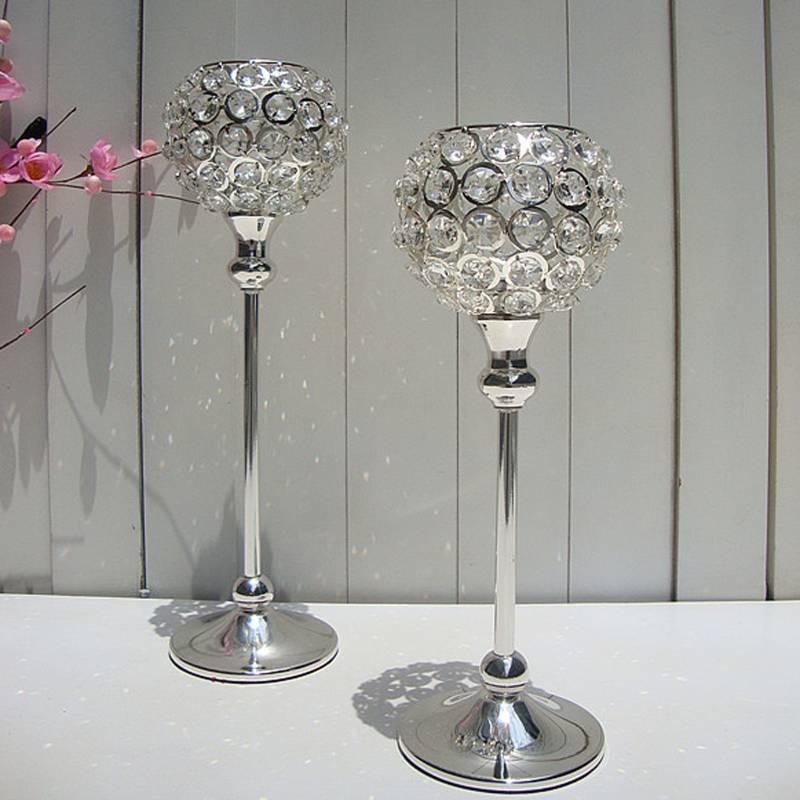 elegant wedding crystal candle holder centerpieces