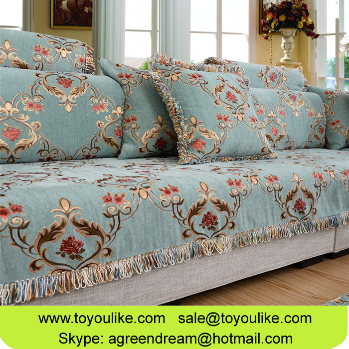 Luxury Big Jacquard Flocked Sofa Protector Cover Slipcover