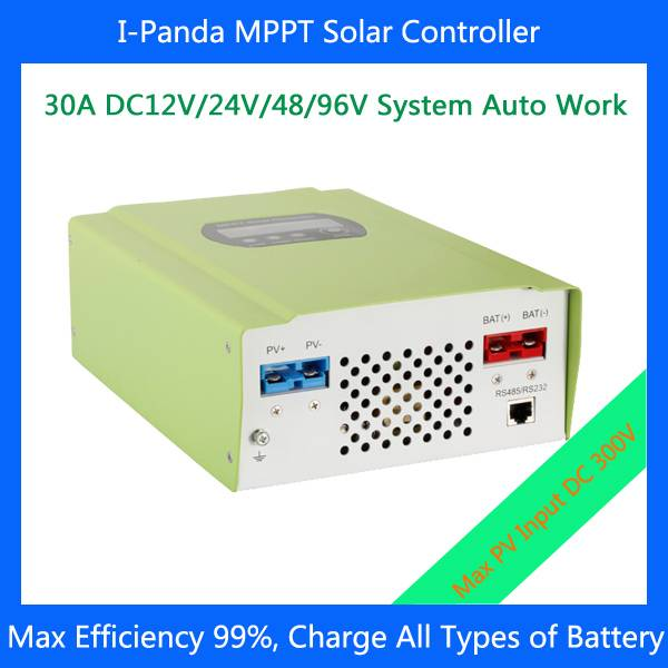 30A  96V MPPT Solar Panel Battery Charge Controller Regulators with RS232 11 languages