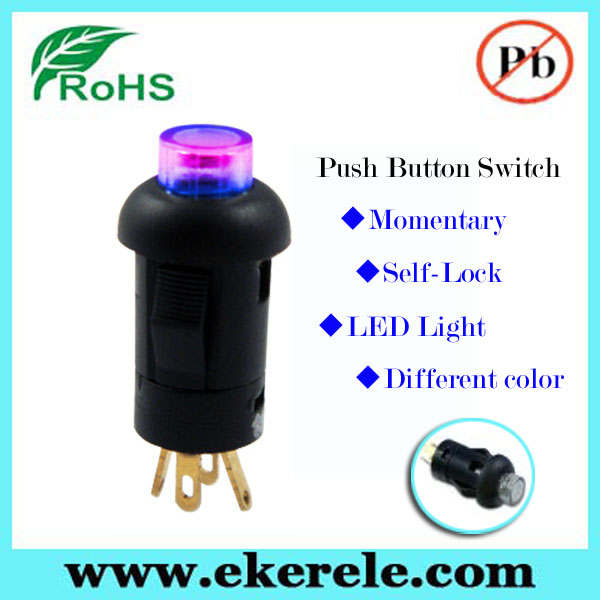 Colorful 16mm Round Self-lock Push Button LED Tact Switch