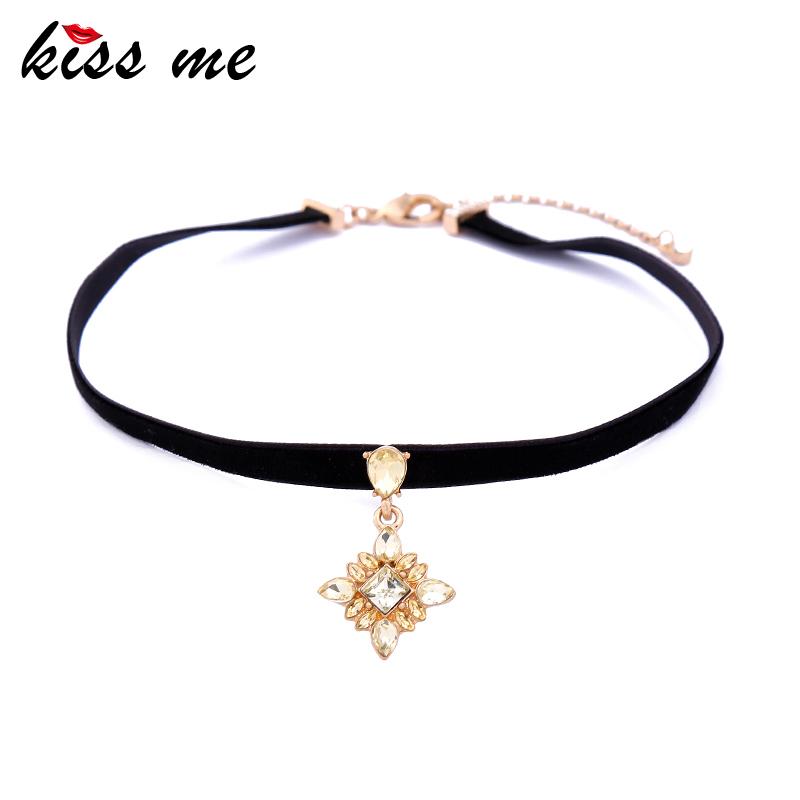 2017 Korea Flower Glass Black Velvet Strip Choker Necklace