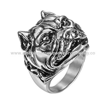 Stainless Steel Ring with Tiger Pattern