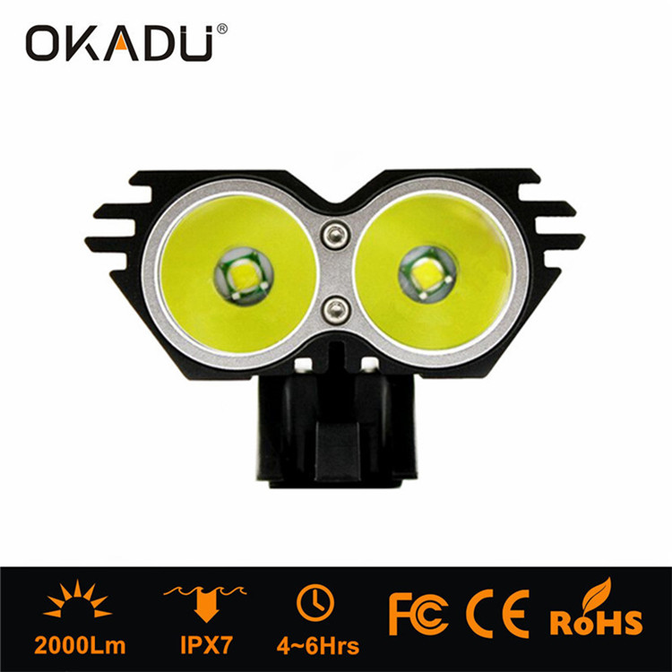 OKADU HT2A Powerful 2 Cree T6 LED 2000Lumens Bike Head Light Rechargeable Battery Pack Bicycle Head