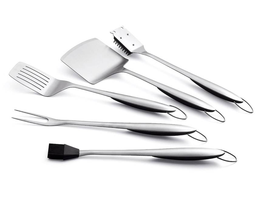 BBQ Tool Set Of 5 With Stainless Steel TPR Handle