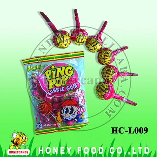 21g Ping Pop with Bubble Gum Whistle Lollipop