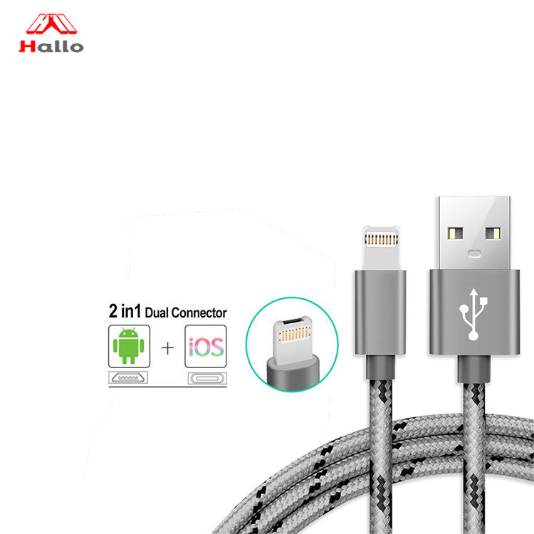 iPhone Charger Lightning Cable and Micro USB Cable 2 in 1 Dual Charging Cable