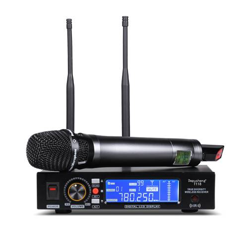 UHF Wireless Microphone Ture Diversity Depusheng T-118 Single-Channel Receiver LCD Display