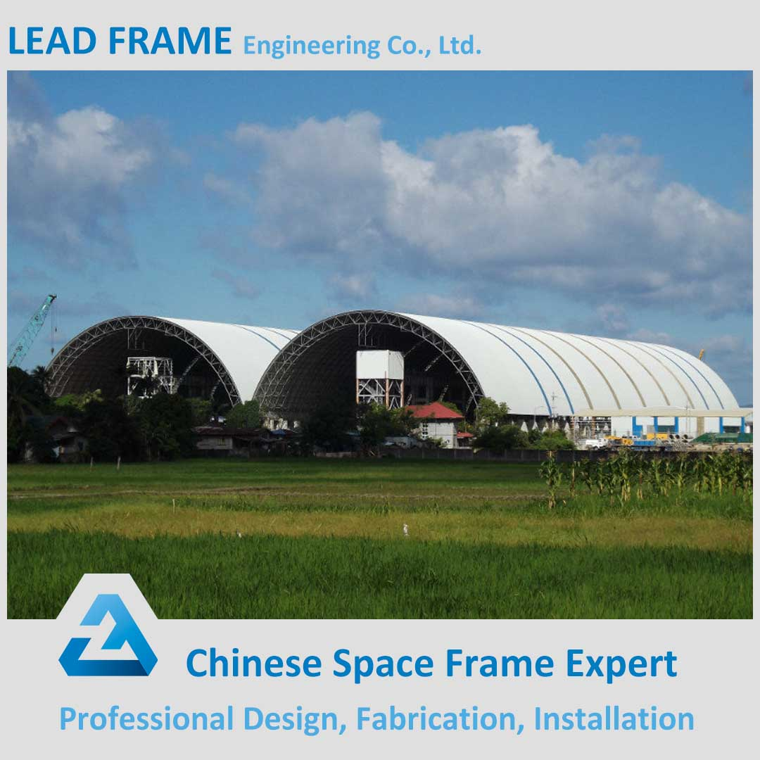Bulk storage galvanized prefab steel space frame