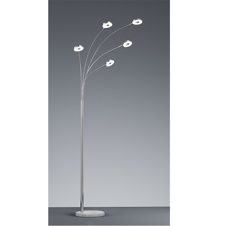 High quality Modern 5 light LED Floor Lamp metal living room bedroom lighting sand nickel
