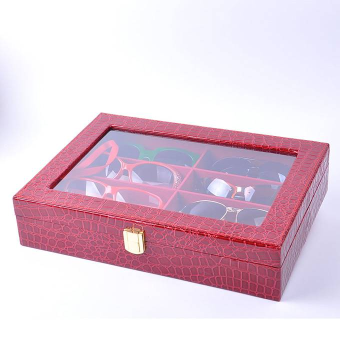 PU Leather Glasses Storage Box with Window