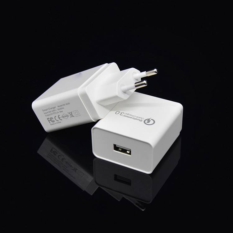 QC 3.0 Quick Charge Travel Charger with US/EU Plug QC3.0 Single USB Wall Chargers for Mobile Phone