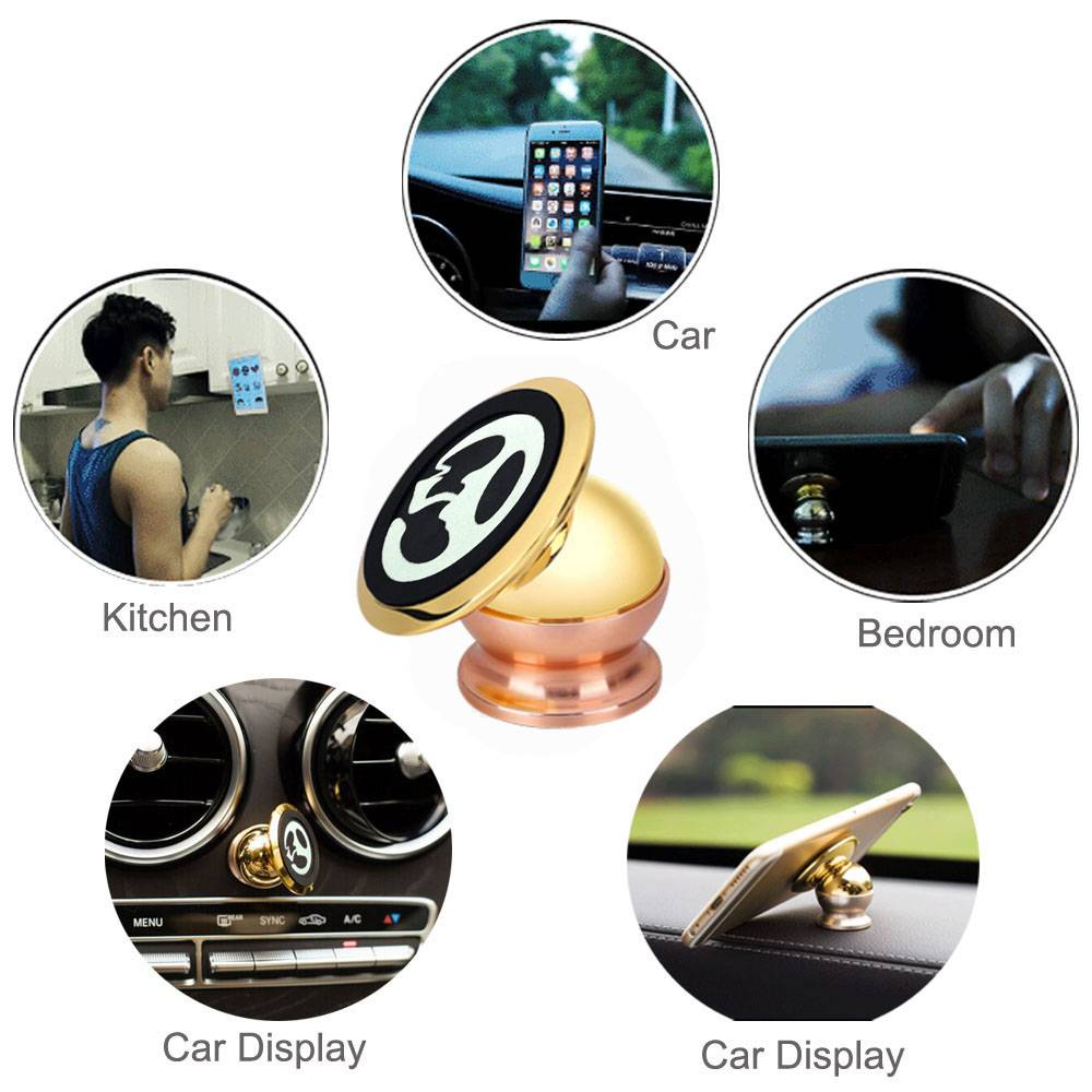 Universal Metal Magnetic Cell Phone Car Holder Gold Plating 360° Degrees Rotating Magic Metal Phone