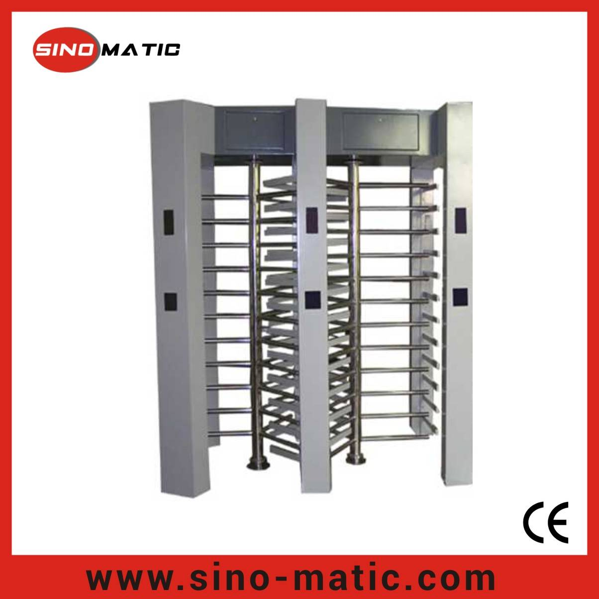 304 Stainless Steel Crowd Control Access Control Full Height Turnstile