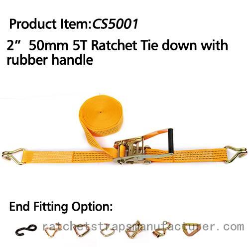 "CS5001 2"" 50mm 5T ratchet tie down with rubber handle"