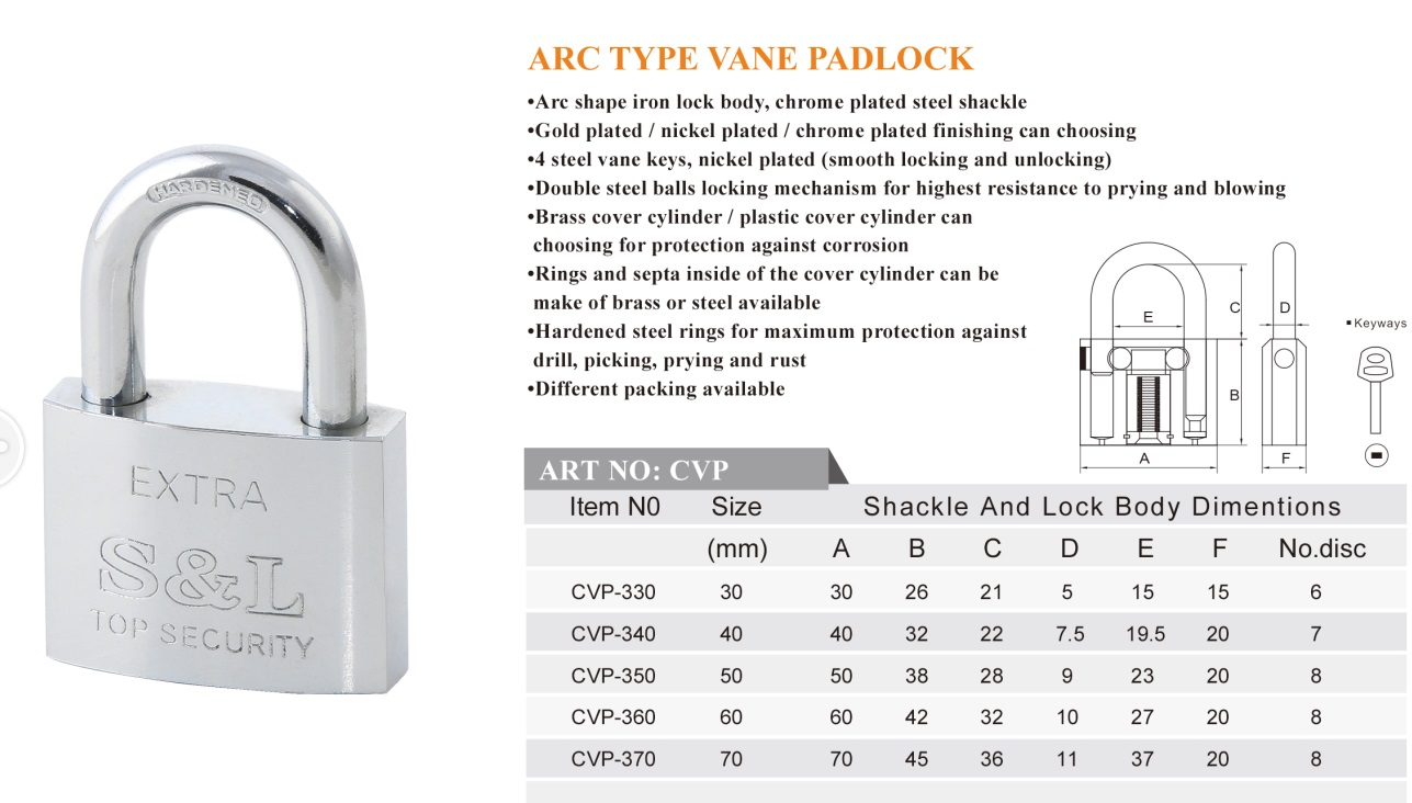 Arc type vane padlock