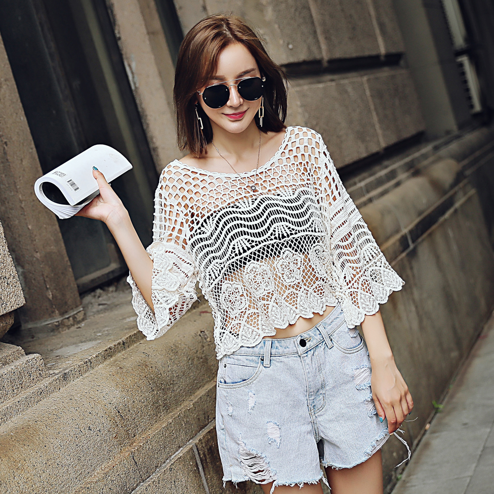 Lace Hollow Ladies Women's Short Sleeve Sleeve Lace Hollow Blouse Summer Lace Perspective Hollow Top