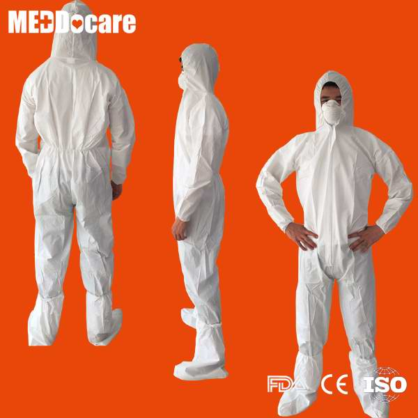 Disposable micro white waterproof coverall for men