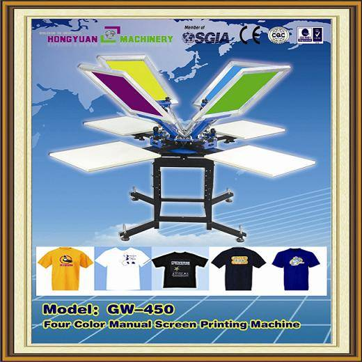 Manual 4 color 4 station t-shirt screen printing machine