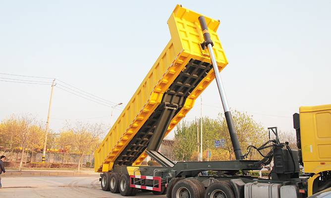 Fudeng 3 axle 40 cubic meter container tipper trailer and dump semi trailer for sale